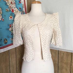 LUSH Embroidered Puff Sleeve Bolero